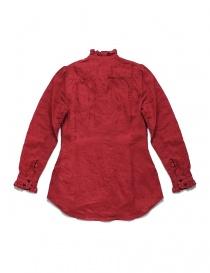 Camicia Kapital rossa di lino con ruffles