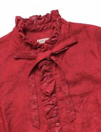 Camicia Kapital rossa di lino con ruffles prezzo