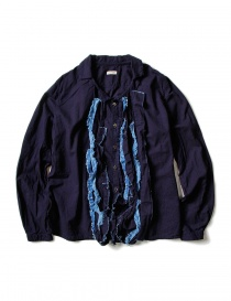 Camicia Kapital blu indaco con ruffles EK-640 IDG