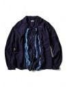 Camicia Kapital blu indaco con ruffles acquista online EK-640 IDG