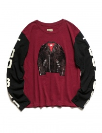 Mens t shirts online: Kapital burgundy and black long sleeved T-shirt