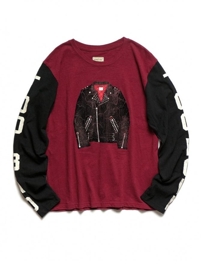 Kapital burgundy and black long sleeved T-shirt 1809LC046 BURGUNDY mens t shirts online shopping