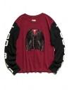 Kapital burgundy and black long sleeved T-shirt buy online 1809LC046 BURGUNDY