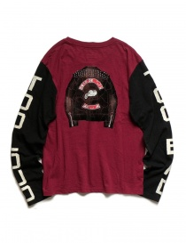 Kapital burgundy and black long sleeved T-shirt