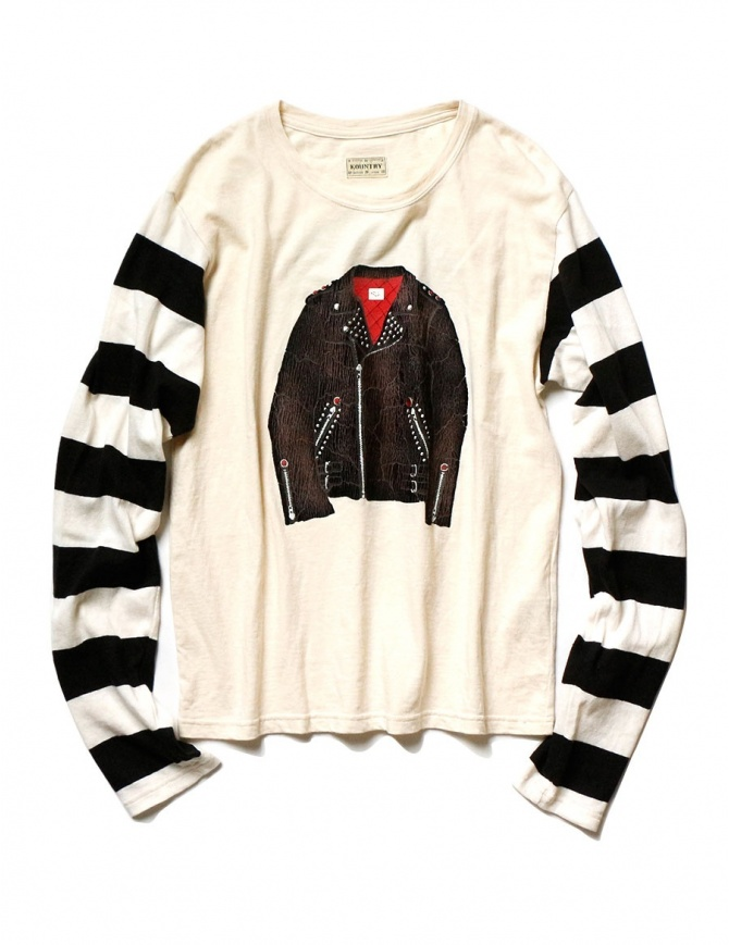 Maglia Kapital colore avorio e maniche a righe K1809LC047 ECRxBLACK t shirt uomo online shopping