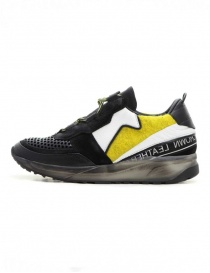 Leather Crown Waero black and yellow shoes