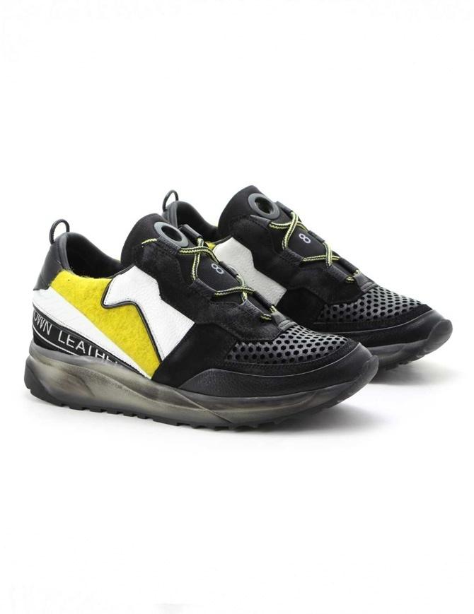 Leather Crown Waero white yellow black sneakers MAERO-AERO BIANCO GIALLO NERO mens shoes online shopping