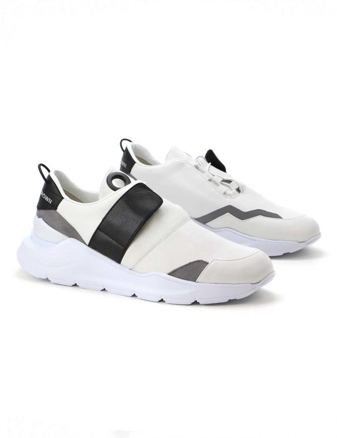 Sneakers Leather Crown MLCBN bianche nere grigie MLCBN-AERO-BIANCO-NERO-REFLEC calzature uomo online shopping