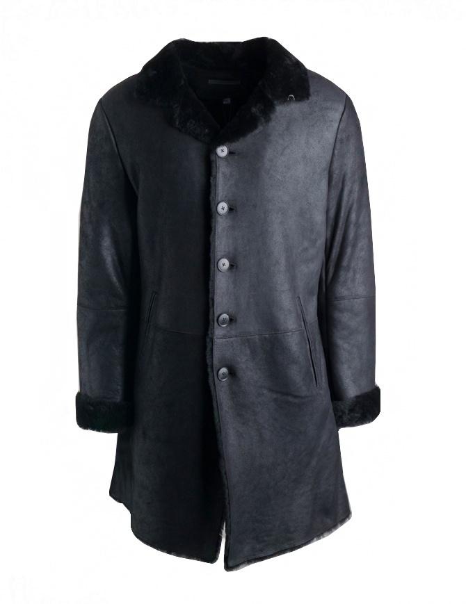 Cappotto John Varvatos in pelle di agnello nero L732U3-Y1342-COL.001 cappotti uomo online shopping
