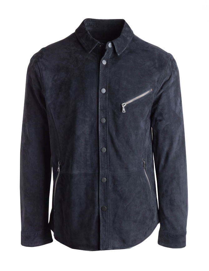 Giacca John Varvatos in pelle scamosciata nera L665P4-Y455-COL.414 giubbini uomo online shopping