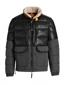 Mens jackets online: Parajumpers Bear charcoal leather down jacket