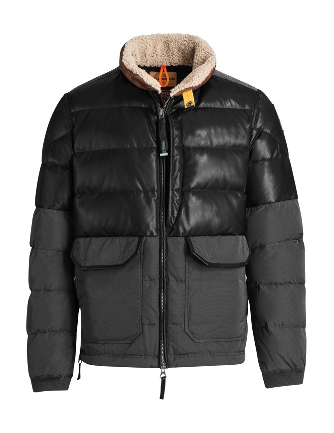 Parajumpers Bear charcoal leather down jacket PM JCK SE02 BEAR MAN 555 mens jackets online shopping