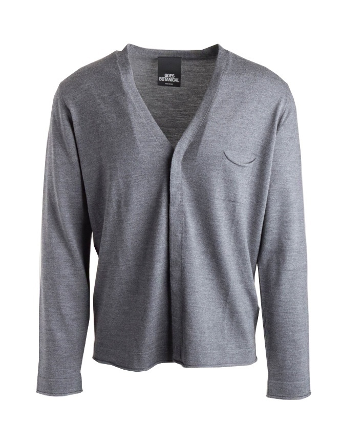 Goes Botanical grey cardigan with pocket 115/1001 GRIGIO MEDIO mens cardigans online shopping