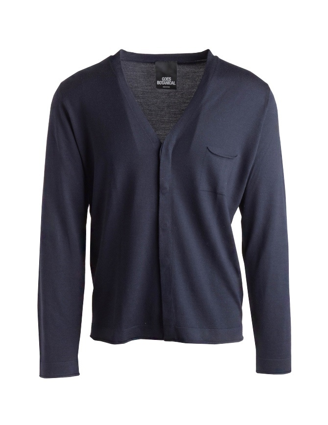 Goes Botanical blue cardigan in merino wool 115/3343 BLU mens cardigans online shopping