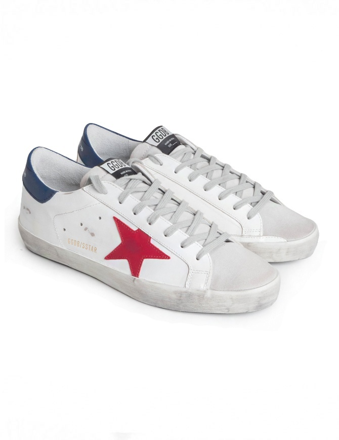 Golden Goose Superstar sneakers with red star G34MS590.N13 WHITE/RED STAR mens shoes online shopping