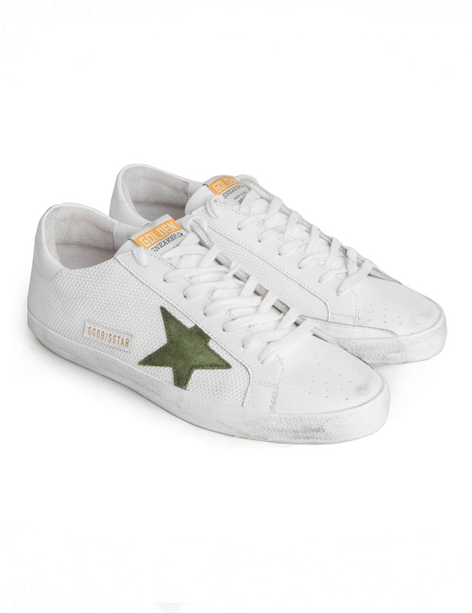 Golden Goose Superstar in mesh sneakers with green star G34MS590.N20 WHT CORD/GREEN ST mens shoes online shopping
