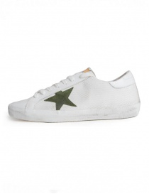 Golden Goose Superstar in mesh sneakers with green star