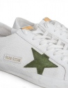 Golden Goose Superstar in mesh sneakers with green star price G34MS590.N20 WHT CORD/GREEN ST shop online