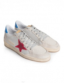 Sneakers Golden Goose Ballstar in tessuto tecnico con stella rossa G34MS592.T2 GREY CORD/RED-BLUE