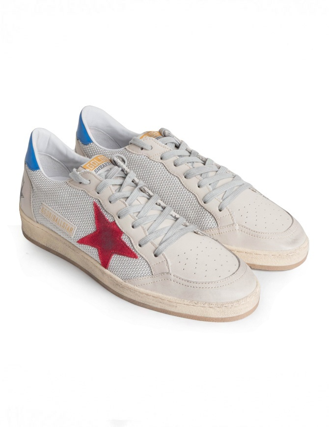Golden Goose Ballstar sneakers in technical mesh with red star G34MS592.T2 GREY CORD/RED-BLUE mens shoes online shopping