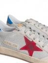 Sneakers Golden Goose Ballstar in tessuto tecnico con stella rossa prezzo G34MS592.T2 GREY CORD/RED-BLUEshop online