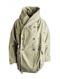 Mens coats online: Kapital army green coat in ripstop cotton