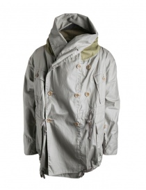 Mens coats online: Kapital gray green waxed parka