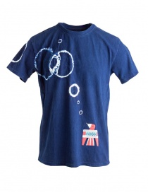 Mens t shirts online: Kapital indigo T-shirt with decoration Batik