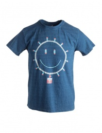 T-shirt Kapital blu indaco con sole smile online