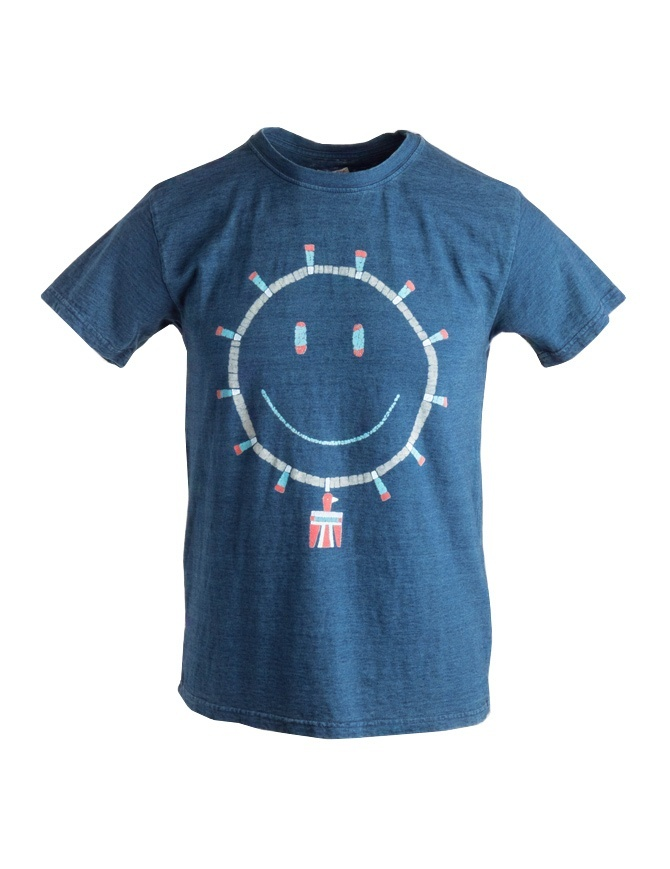 T-shirt Kapital blu indaco con sole smile EK-557 IDG t shirt uomo online shopping