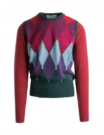 Mens knitwear online: Ballantyne Lab red-green argyle pullover