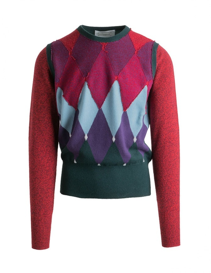 Pullover Ballantyne Lab a rombi rosso-verde N2LB25-12KLB maglieria uomo online shopping