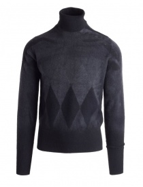 Mens knitwear online: Ballantyne Lab grey cashmere turtleneck sweater