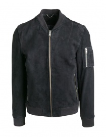 Mens jackets online: Selected Homme black suede bomber jacket
