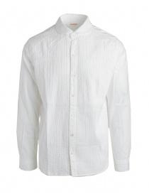 Camicia bianca Kapital con plissettatura K1507LS243 WHITE