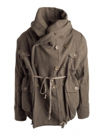 Mens coats online: Kapital coat in khaki wool blend