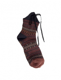 Socks online: Kapital brown socks with laces
