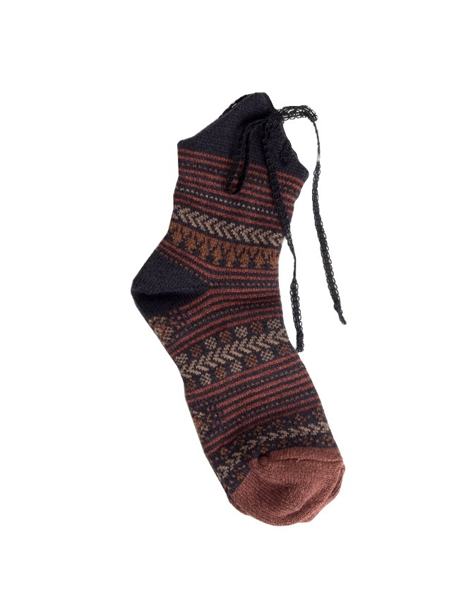 Kapital brown socks with laces K1504XG342 BLK socks online shopping