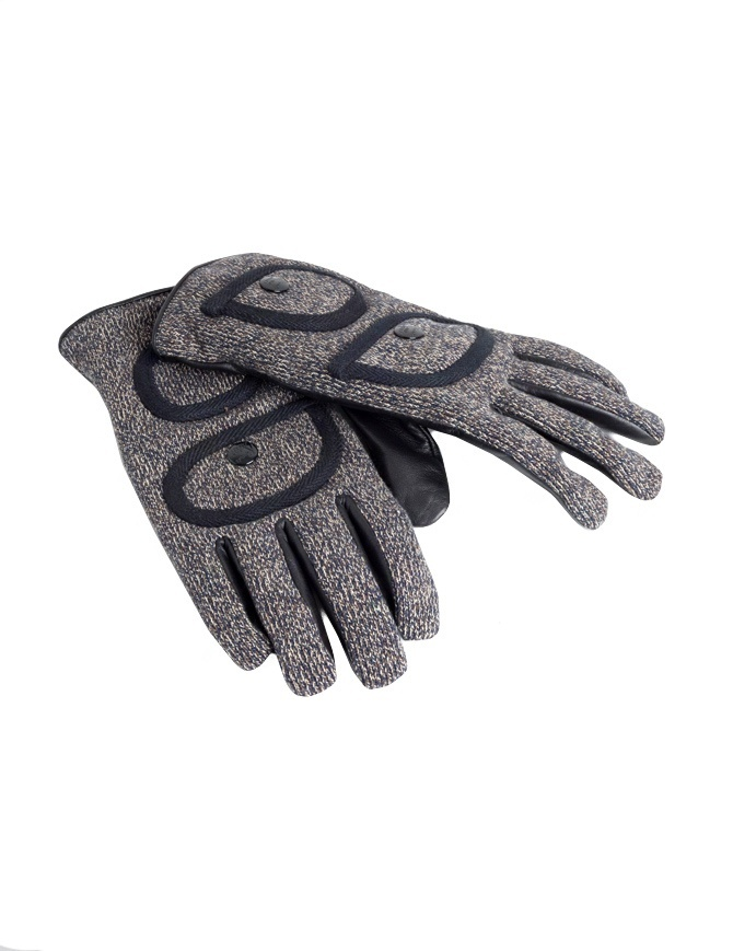 Kapital gloves in leather and cotton with pockets K1711XG624 CHARCOAL GLOVES gloves online shopping