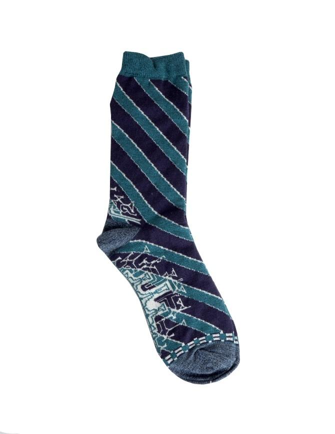 Kapital socks with green and blue stripes K1604XG572 SOCKS GREEN socks online shopping