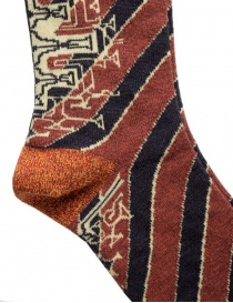 Kapital socks with black and rust stripes