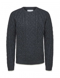 Mens knitwear online: Selected Homme cable knit grey melange pullover