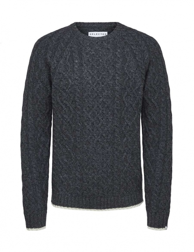 Selected Homme cable knit grey melange pullover 16060236 GREY MELANGE mens knitwear online shopping