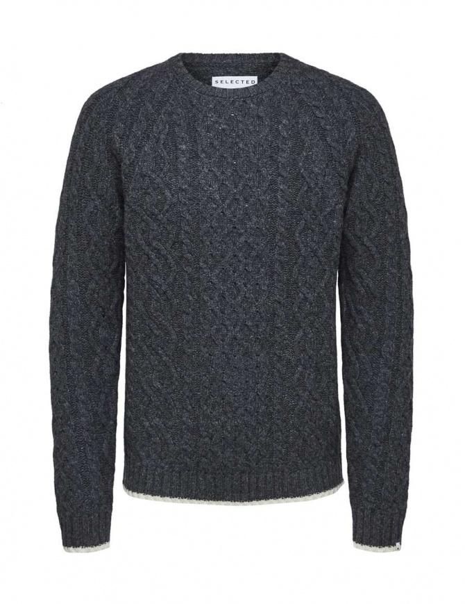 Selected Homme cable knit grey melange pullover 16060236-GREY-MELANGE mens knitwear online shopping