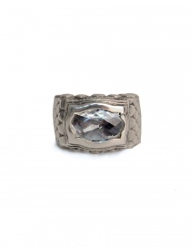 ElfCraft ring with dragon scales and white zirconia stone