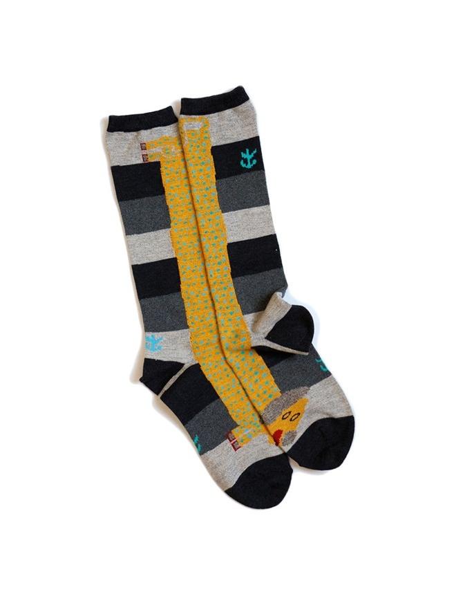 Calzini Kapital neri con bassotto giallo K1711XG614 BLACK SOCKS calzini online shopping