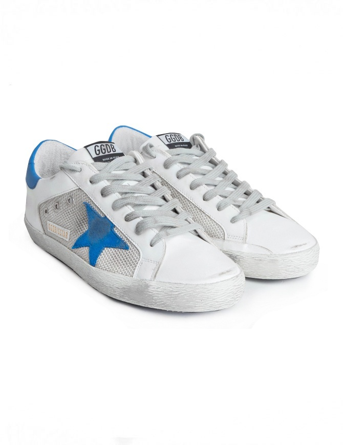 Sneakers Golden Goose Superstar Bianche Silver Stella Blu G34MS590.M99-WHITE-SILVER-NET calzature uomo online shopping