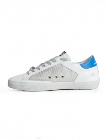Golden Goose Sneakers Superstar White Silver with Blue Star