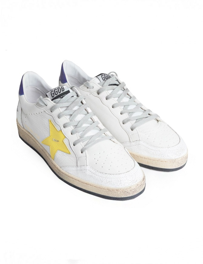 Sneakers Golden Goose Ball Star Bianche Gialle Viola G34MS592.R9-WHT-PUR-YELLOW-STA calzature uomo online shopping