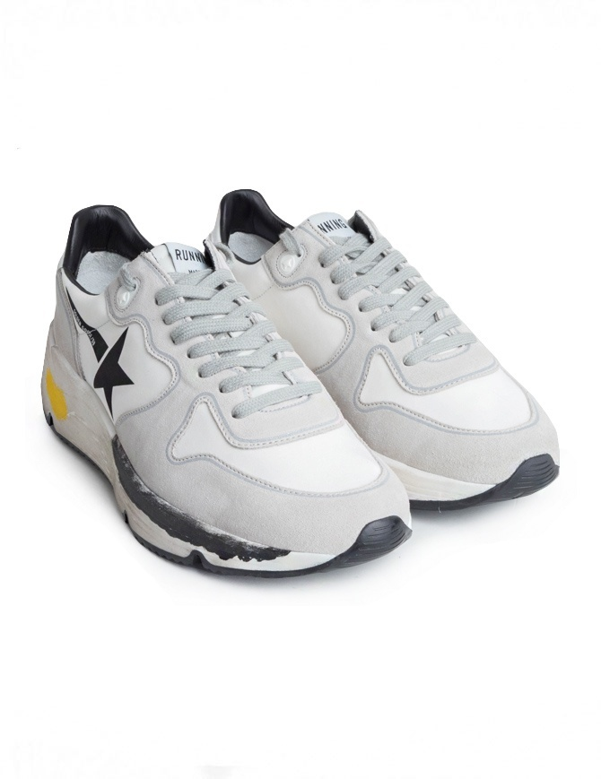 Golden Goose Running Sneakers White with Black Star G34MS963.A1 WHT LYCRA/BLK STAR mens shoes online shopping